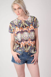 Oriental Floral Print Oversized High Low Top in Pink MODEL FRONT
