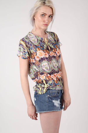 Oriental Floral Print Oversized High Low Top in Pink MODEL FRONT 2