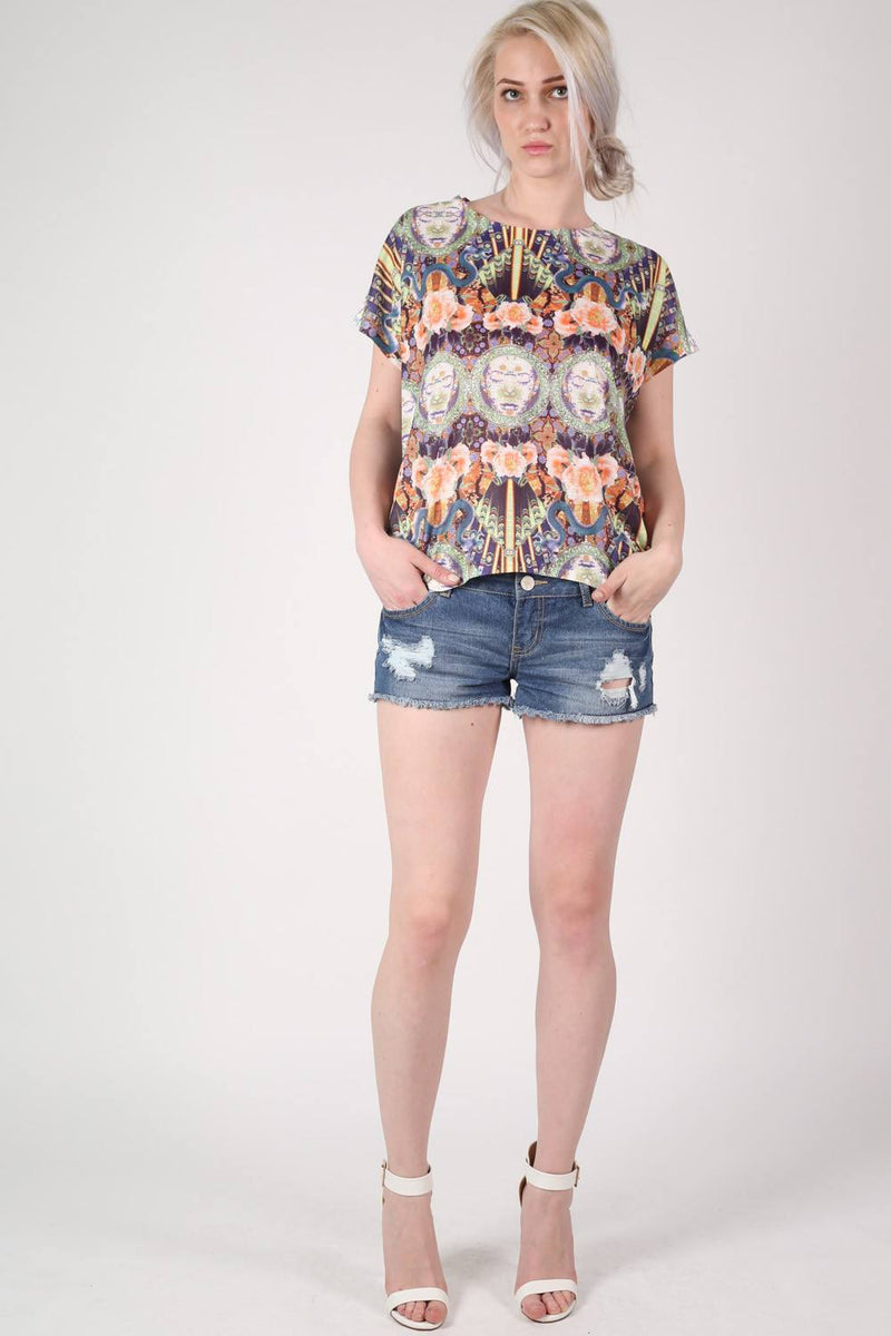 Oriental Floral Print Oversized High Low Top in Pink MODEL FRONT 3