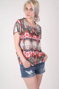 Oriental Floral Print Oversized High Low Top in Red MODEL FRONT