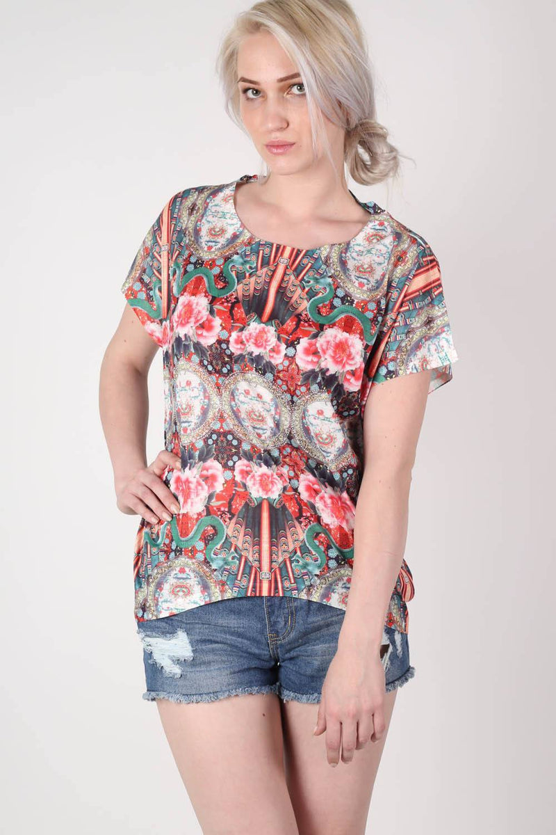 Oriental Floral Print Oversized High Low Top in Red MODEL FRONT 2