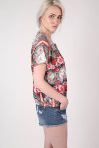 Oriental Floral Print Oversized High Low Top in Red MODEL SIDE