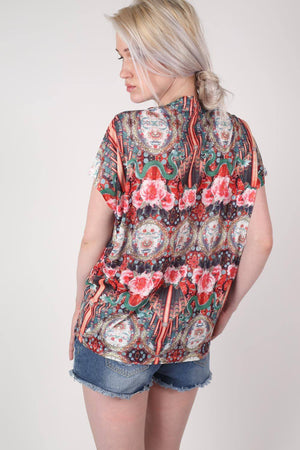 Oriental Floral Print Oversized High Low Top in Red MODEL BACK