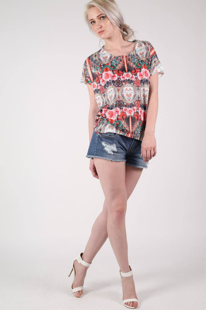 Oriental Floral Print Oversized High Low Top in Red MODEL FRONT 3