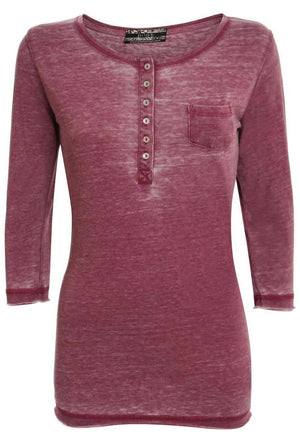 3/4 Sleeve Buttoned Scoop Neck Top in Burgundy Red 0