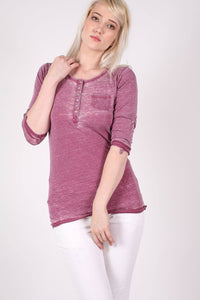 3/4 Sleeve Buttoned Scoop Neck Top in Burgundy Red MODEL FRONT
