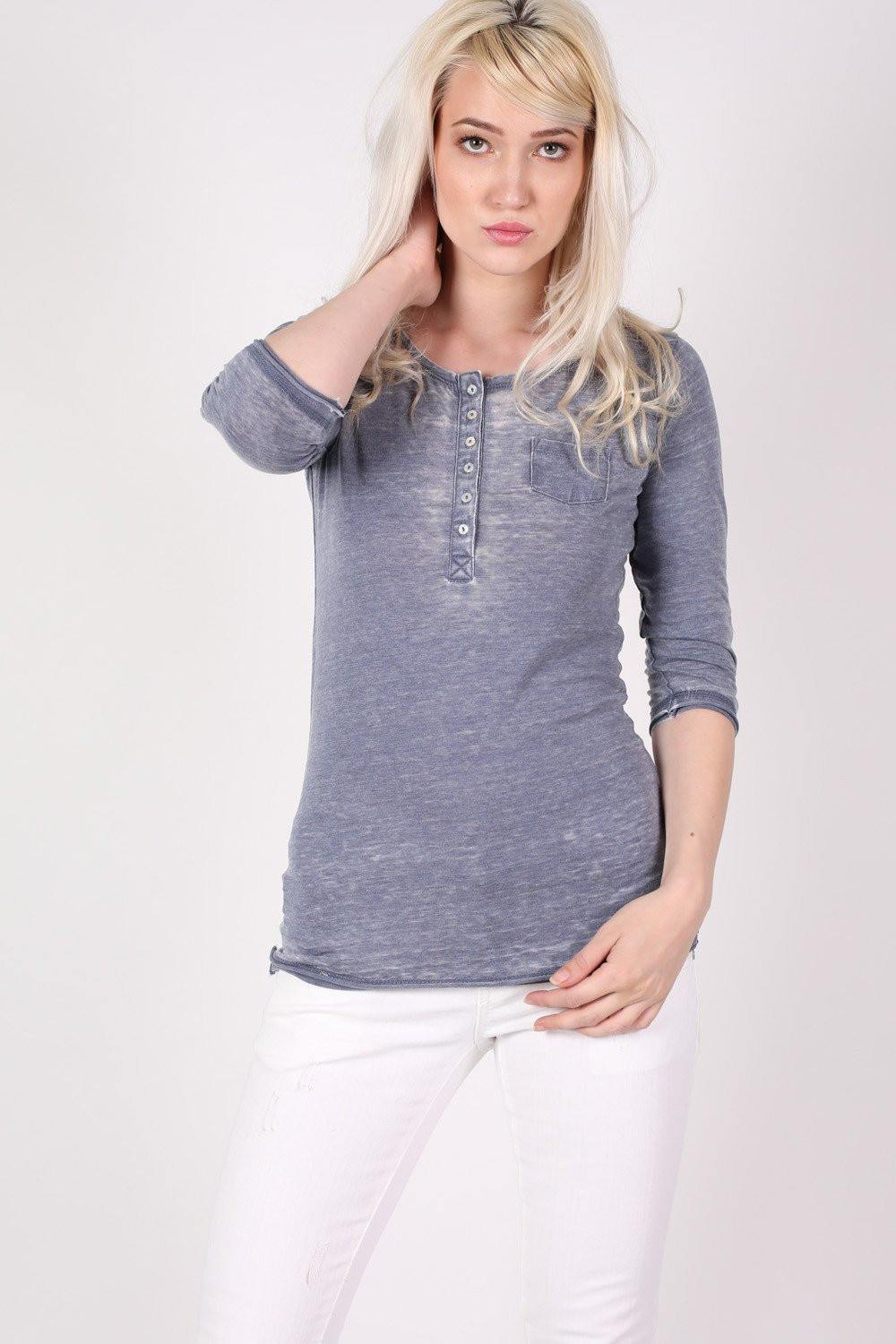 3/4 Sleeve Buttoned Scoop Neck Top in Denim Blue 1