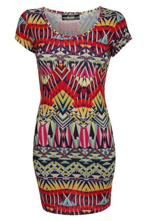 Geometric Print Cap Sleeve Bodycon Dress 2