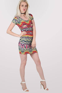 Geometric Print Cap Sleeve Bodycon Dress 0
