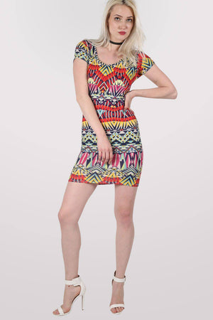 Geometric Print Cap Sleeve Bodycon Dress 1