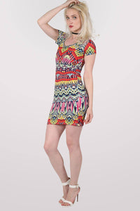 Geometric Print Cap Sleeve Bodycon Dress 3
