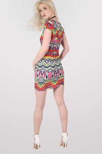 Geometric Print Cap Sleeve Bodycon Dress 4