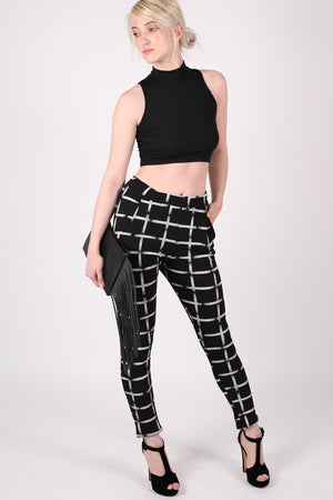 Check Print Jeggings in Black MODEL FRONT