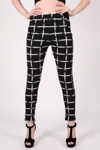 Check Print Jeggings in Black MODEL FRONT 2