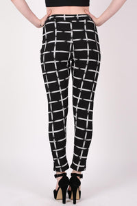Check Print Jeggings in Black MODEL BACK