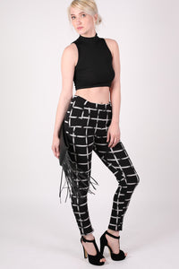 Check Print Jeggings in Black MODEL FRONT 3