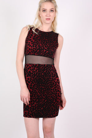 Leopard Flock Print Sleeveless Bodycon Dress in Wine Red 0
