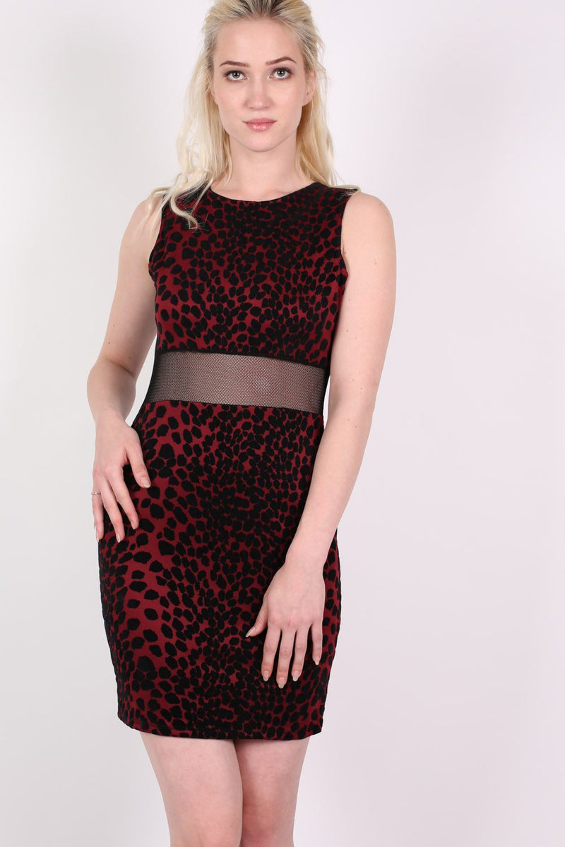 Leopard Flock Print Sleeveless Bodycon Dress in Wine Red 3