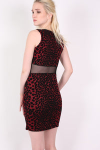 Leopard Flock Print Sleeveless Bodycon Dress in Wine Red 4