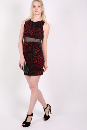 Leopard Flock Print Sleeveless Bodycon Dress in Wine Red 5