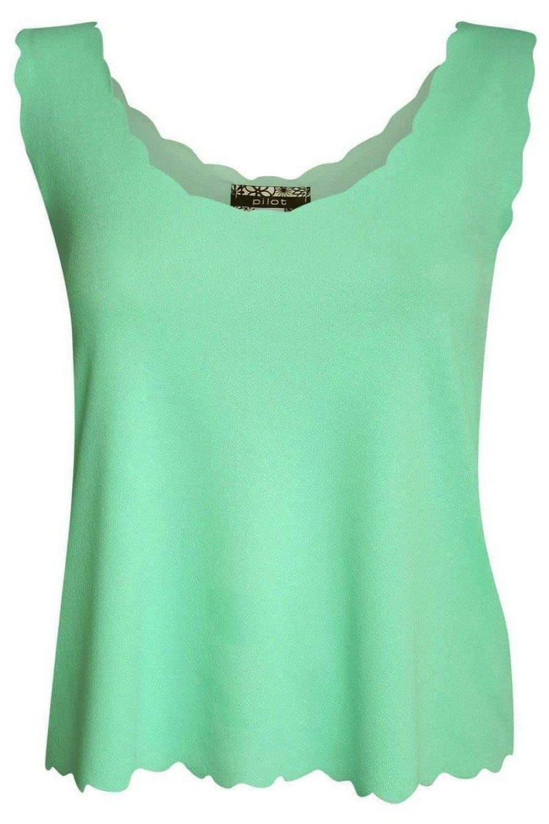 Scallop Edge Sleeveless Top in Mint Green 2