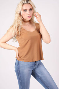 Scallop Edge Sleeveless Top in Camel Brown 0