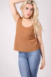 Scallop Edge Sleeveless Top in Camel Brown 1