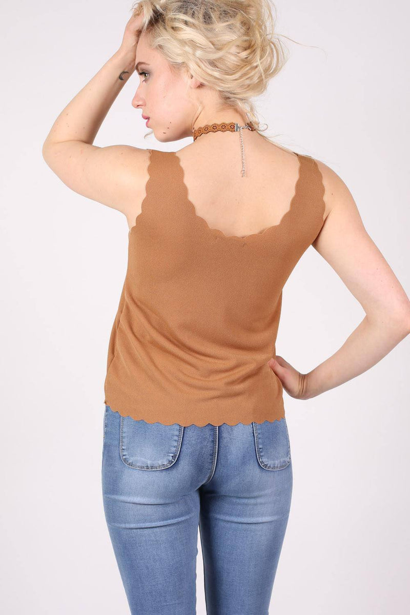 Scallop Edge Sleeveless Top in Camel Brown 2