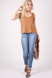 Scallop Edge Sleeveless Top in Camel Brown 3