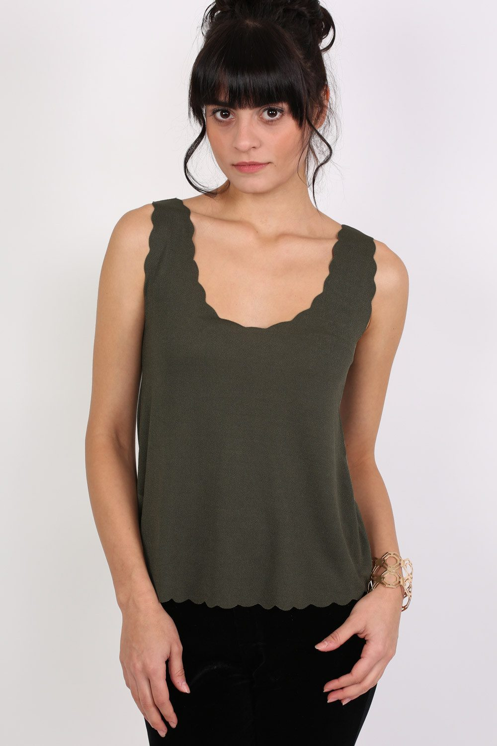 Scallop Edge Sleeveless Top in Khaki Green 0