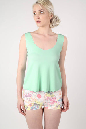 Scallop Edge Sleeveless Top in Mint Green 0