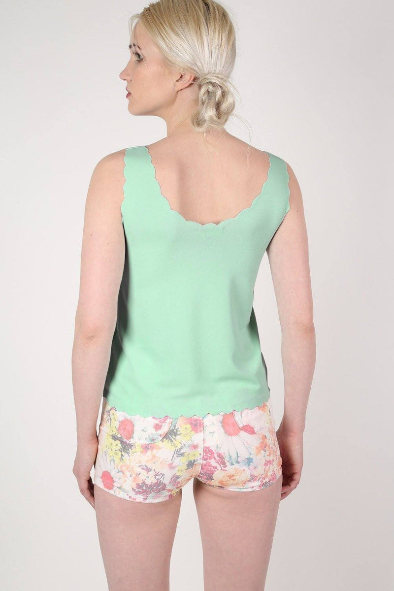Scallop Edge Sleeveless Top in Mint Green 1