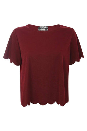 Crepe Scallop Edge Cap Sleeve Top in Burgundy Red 2