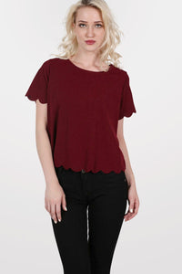 Crepe Scallop Edge Cap Sleeve Top in Burgundy Red 0