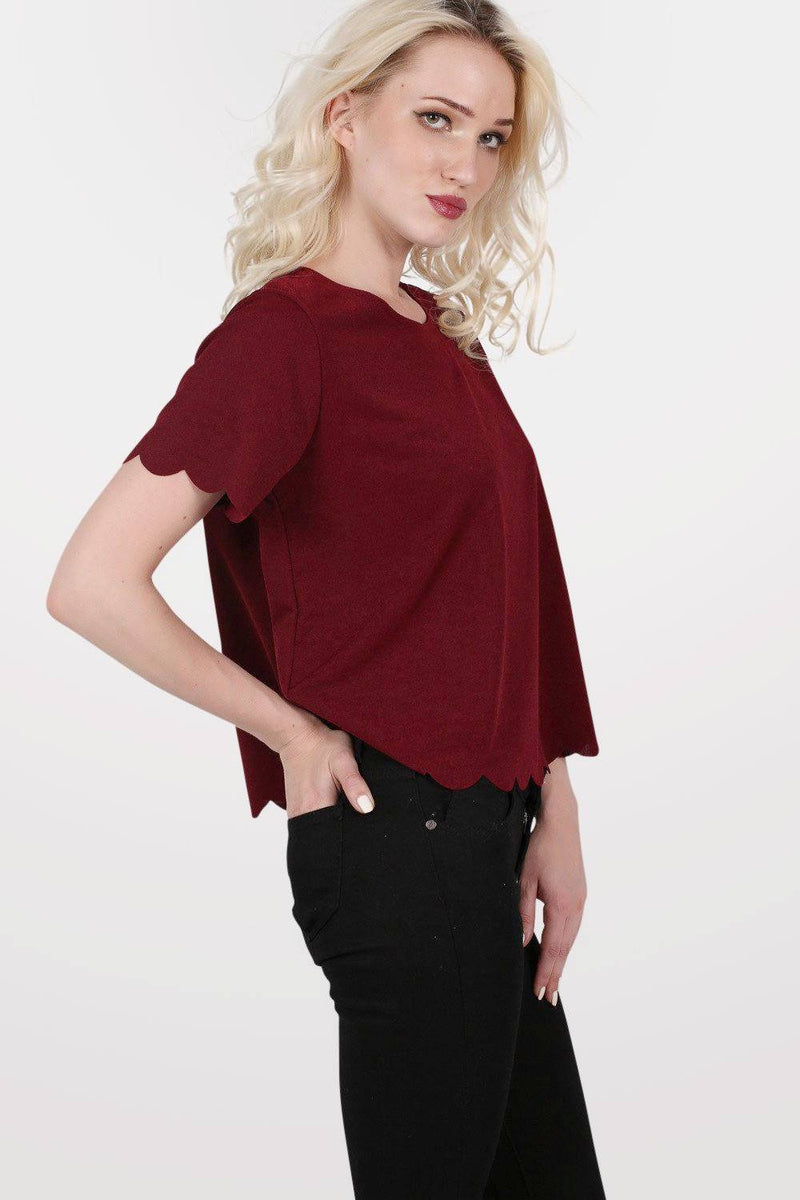 Crepe Scallop Edge Cap Sleeve Top in Burgundy Red 1