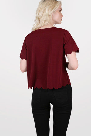 Crepe Scallop Edge Cap Sleeve Top in Burgundy Red 3