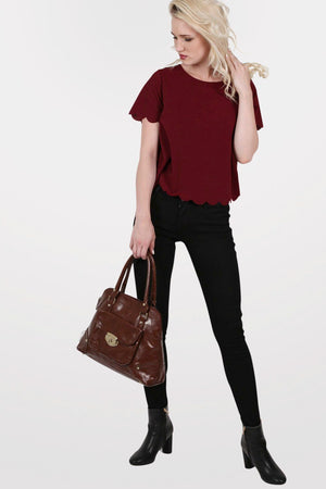 Crepe Scallop Edge Cap Sleeve Top in Burgundy Red 4