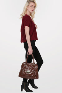 Crepe Scallop Edge Cap Sleeve Top in Burgundy Red 5