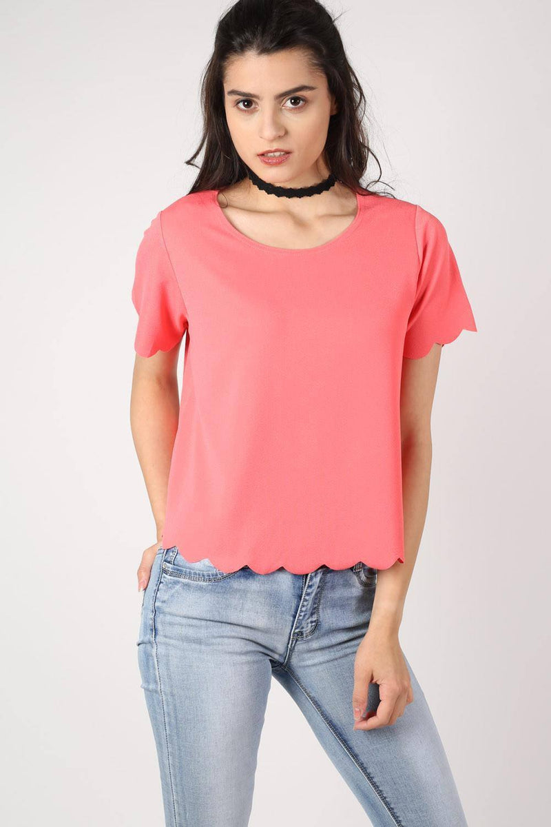Crepe Scallop Edge Cap Sleeve Top in Coral 1