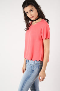 Crepe Scallop Edge Cap Sleeve Top in Coral 2