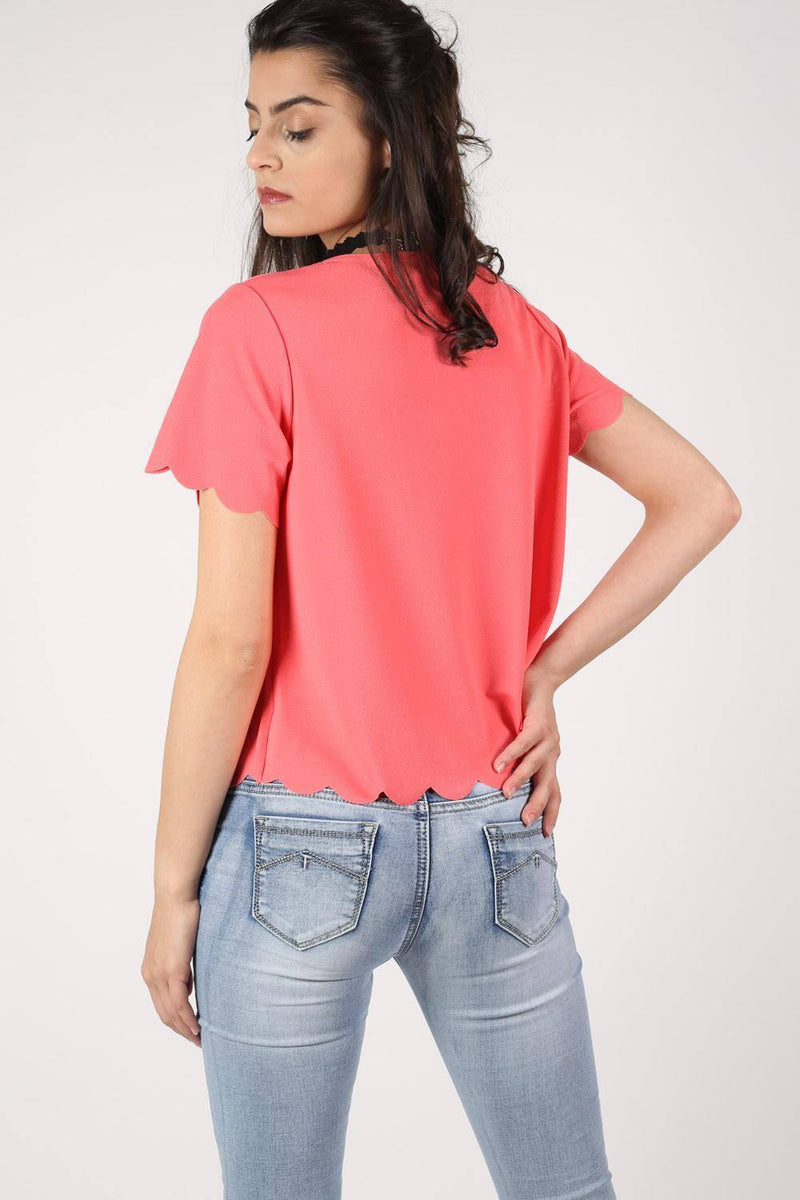 Crepe Scallop Edge Cap Sleeve Top in Coral 3