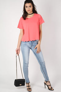 Crepe Scallop Edge Cap Sleeve Top in Coral 4