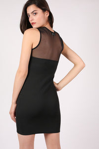 Lace And Mesh Trim Sleeveless Bodycon Dress in Black 3