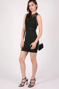 Lace And Mesh Trim Sleeveless Bodycon Dress in Black 4