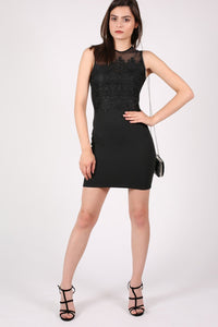 Lace And Mesh Trim Sleeveless Bodycon Dress in Black 5