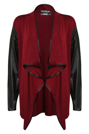 Contrast Wet Look Sleeve Open Jersey Cardigan in Burgundy Red 2