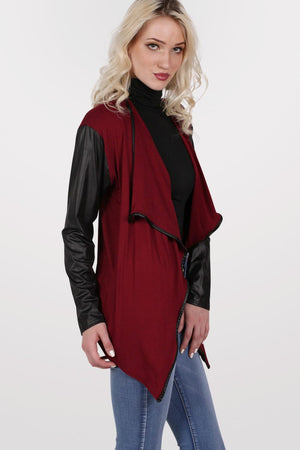 Contrast Wet Look Sleeve Open Jersey Cardigan in Burgundy Red 0