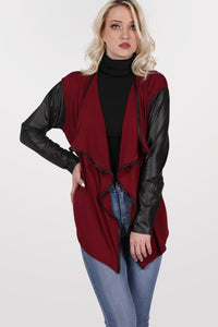 Contrast Wet Look Sleeve Open Jersey Cardigan in Burgundy Red 1