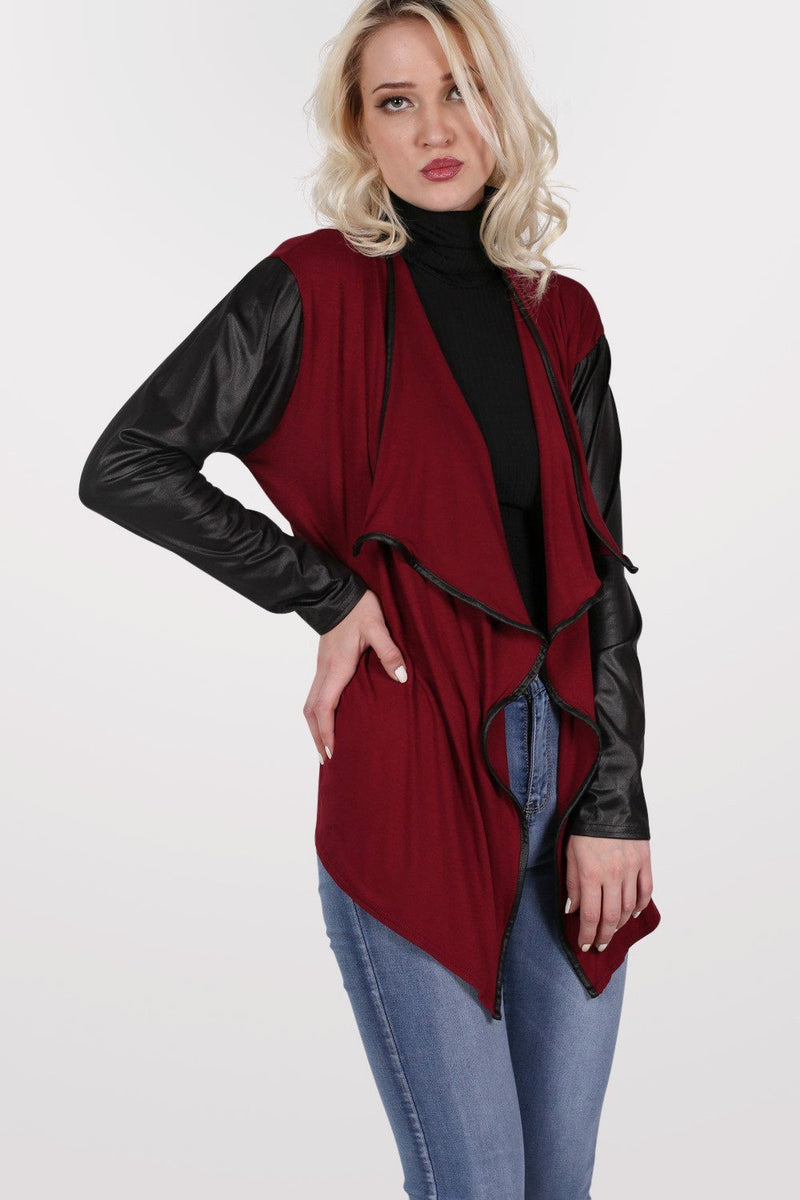 Contrast Wet Look Sleeve Open Jersey Cardigan in Burgundy Red 3