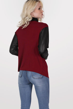 Contrast Wet Look Sleeve Open Jersey Cardigan in Burgundy Red 4